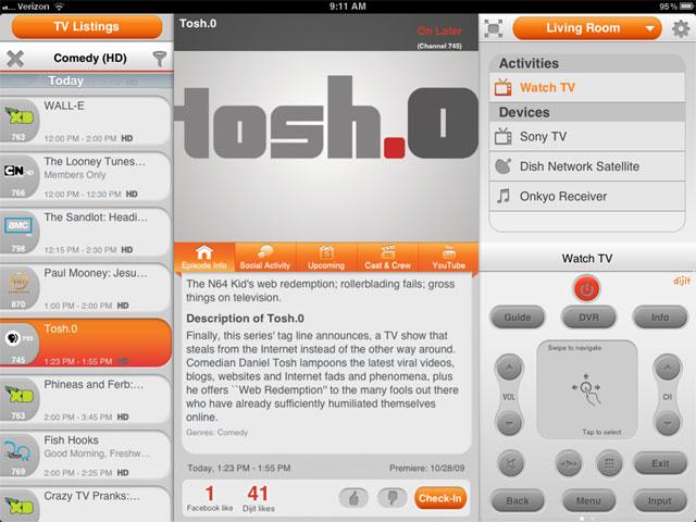 Dijit Universal Remote iPad Application