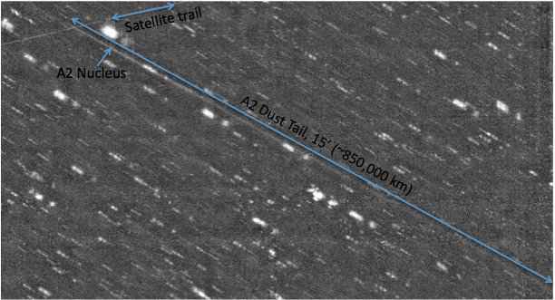 Astronomers captured the tailed asteroid P/2010 A2 (LINEAR)