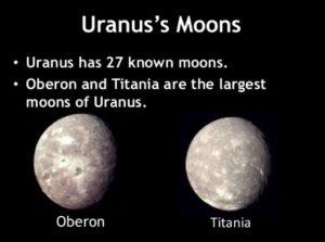 Moons of Uranus Oberon and Titania