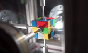 Robot Solves Rubik Cube More Quickly than You Can Blink your Eye