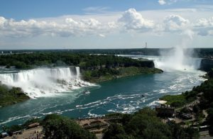 From largest to smallest, the three waterfalls are the Horseshoe Falls, the American Falls and the Bridal Veil Falls