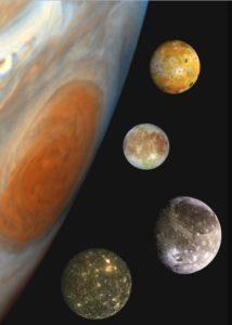 The Galilean moons are Io, Europa, Ganymede, and Callisto