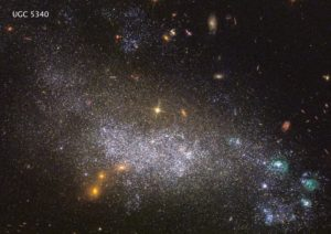 This is the dwarf galaxy UGC 5340, which is 40 million light-years away