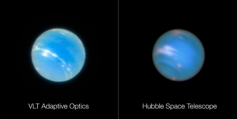 Hubble Space Telescope compared to VLT Adaptive Optics