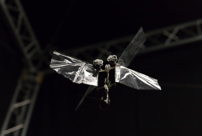 robot can fly for more than 5 minutes on a fully charged battery