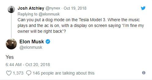 Elon Musk's Post about dog mode
