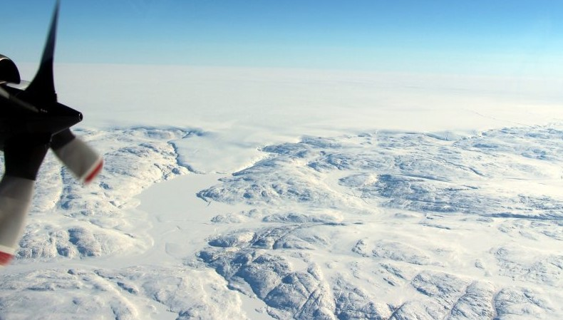 The Hiawatha impact crater is covered by the Greenland Ice Sheet