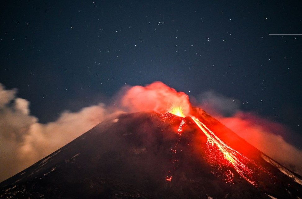 Etna Volcano Erupts