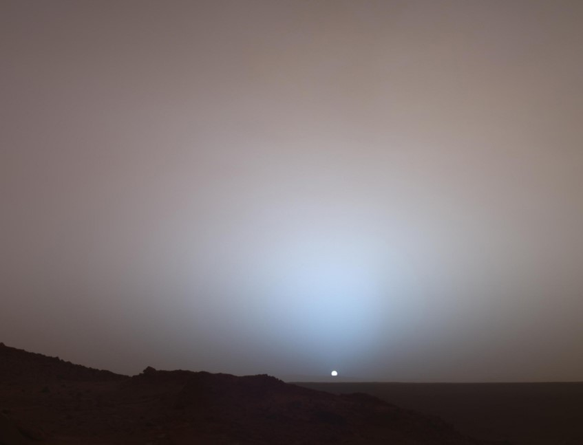 The Sun sinks below the horizon in this stunning panoramic view captured by NASA's Spirit Mars rover in 2005_image_credit_NASA
