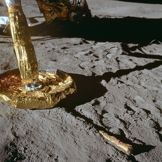 A close-up view of a footpad of the Apollo 11 Lunar Module