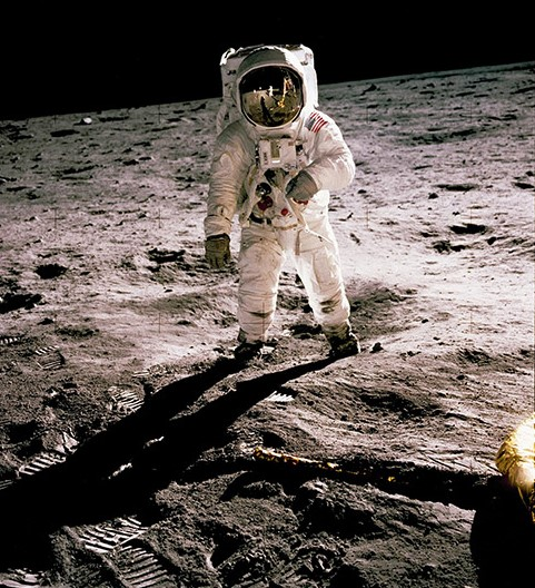 This photo is of Edwin Aldrin walking on the lunar surface. Neil Armstrong, who took the photograph