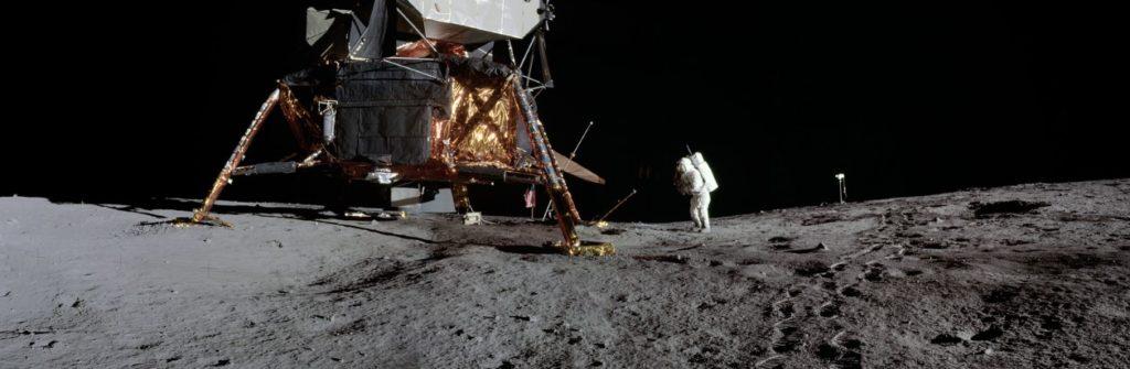 Panorama view of Apollo 12 lunar surface photos