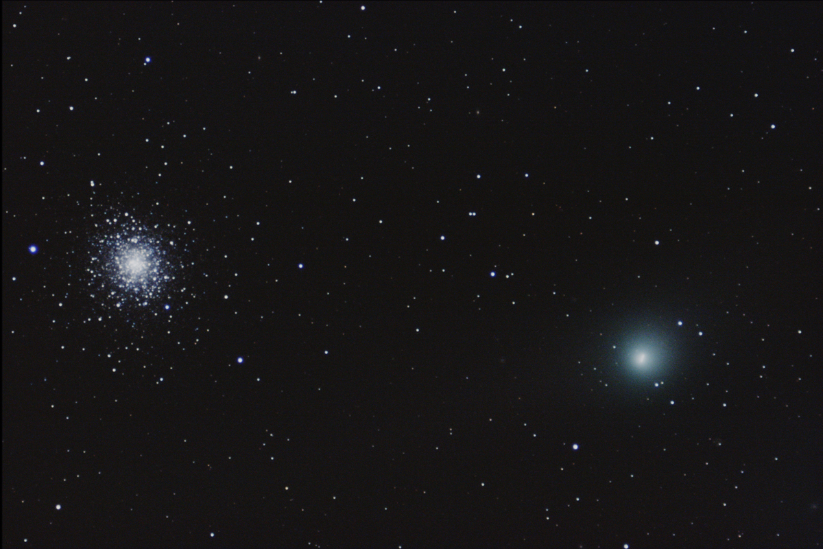 Comet Garradd and Star Cluster